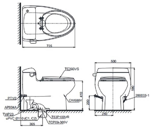 bản vẽ bồn cầu TOTO C688