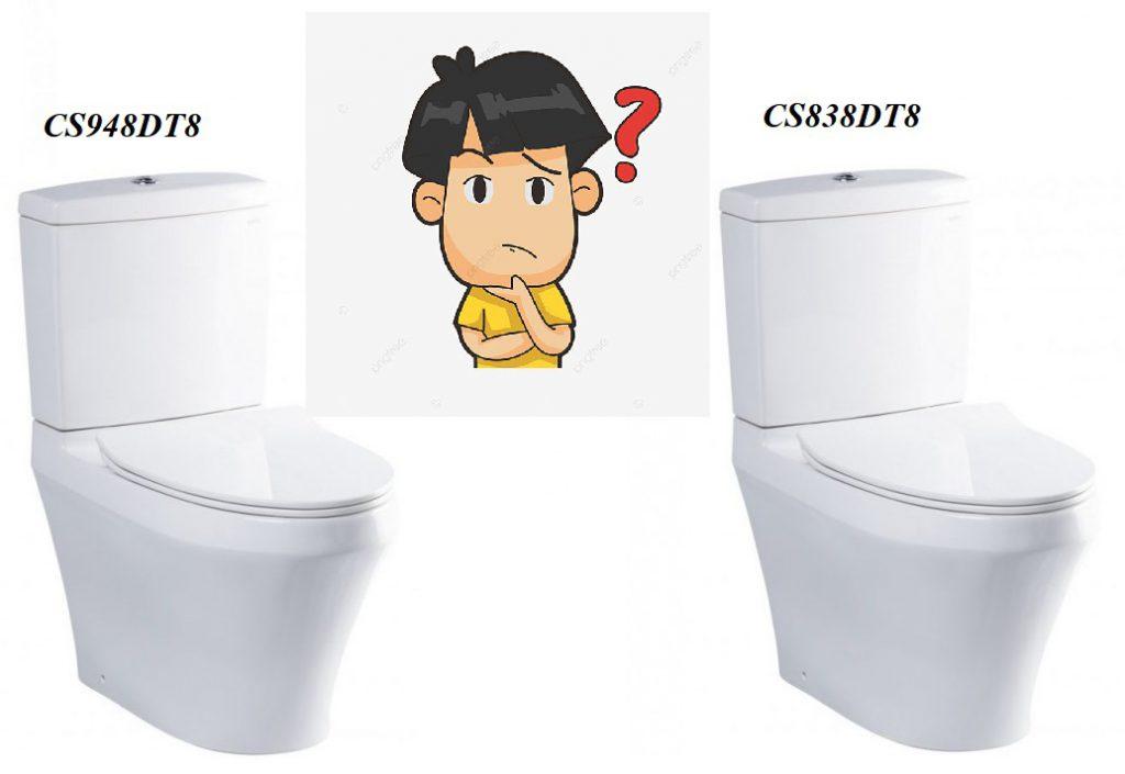 So sánh bồn cầu Toto CS948DT8 với bàn cầu Toto CS838DT8